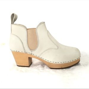Swedish Hasbeens Bone Chelsea Wood Clog Booties 37